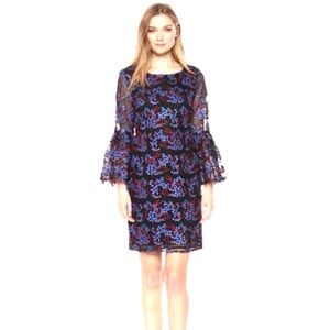 💙NWT Nicole Miller Embroidered Tulle Sheath Dress